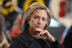 CEDAR FALLS, IA - MAY 19: Democratic presidential hopeful and former Secretary of State Hillary Clinton hosts a small business forum with members of the business and lending communities at Bike Tech bicycle shop on May 19, 2015 in Cedar Falls, Iowa. Yesterday Clinton hosted an organizing rally with supporters in Mason City. (Photo by Scott Olson/Getty Images)